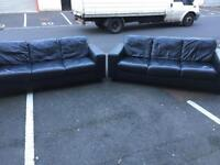 2x3 Seater Black Leather Sofas