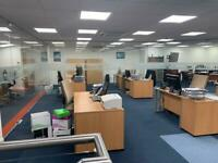 Job log office furniture/clearance 13 desk, chairs, cabinets, pedestals