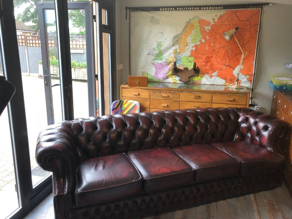 Vintage Leather Red Chesterfield Sofa Settee Office Mancave Pub