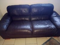PAIR OF BROWN LEATHER 2 SEATER SOFAS