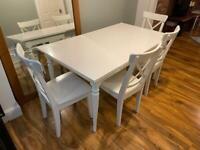 White Ingatorp Dining Table & 4 Ingolf Chairs IKEA Dining Set - Like New - £250 ono