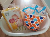 Baby bath and leftover nappies newborn
