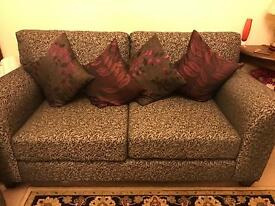 """Set of 2 sofas, 3 + 2 seater- one is sofa bed. """"As new"""" condition!! Was £1300 new."""