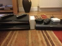 THREE SKY HD BOXES WITH REMOTE CONTROLS, TWO SKY WIFI BOOSTERS, SKY BROADBAND ROUTER.