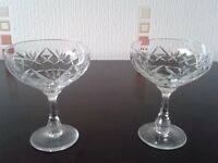 28 Cut glass glasses incl wine, Brandy, Champagne glasses, sherry/liqueur, whiskey, Sundae dishes.