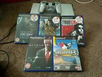 Silver Ps2 with 5 games & memory card