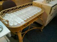 Wicker dressing table with glass #27743 ,£25