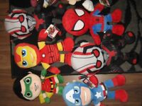 """13 marvel/dc super hero soft toys 12"""" tall plus 2 rappers all still have tags on"""