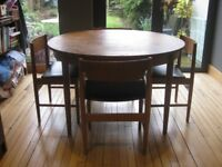 Mid Century Table 120cms Diameter and 4x Matching Chairs