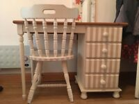 Upcycled wooden white and pastel purple desk with chair.