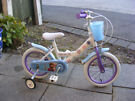 """GIRLS 14"""" WHEEL BIKE WITH FITTED STABILISERS IN GREAT WORKING ORDER AGE 3+"""