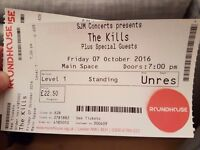 2 x The Kills Standing Tickets, Camden Roundhouse 7th October Face value + Postage
