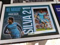 David Silva hand signed A2 framed photo display with Coa