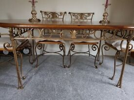 Dining table and chairs - stylish, wood and metal. Excellent condition.