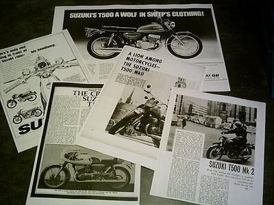 Suzuki T500  Sales Ads & Roads Test Facsimile On 14 Sheets 1970 -76