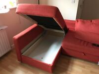 Comfortable red sofa bed