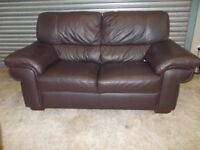 Large Brown Full Hide Leather 2-seater Sofa (Suite)