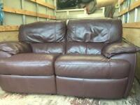 2 Seater Leather Recliner and 1 Seat Leather Recliner. V.G.C. £90 o.v.n.o.