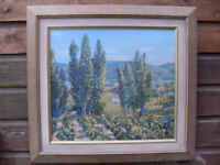 Ted Dyer Large Original Oil Painting Provence circa 2000 Poplars and Vines 'Rasteau' STUNNING