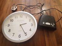 FREE - Set of Wall Clock & Bedside Alarm Clock w/ FM Radio