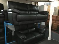 Reid Abella Black Leather 3 + 2 Seater Sofa NEW/Ex Display