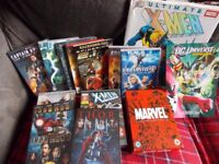 Marvel dvd collection and Xmen book,DC Univerce