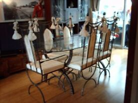 WROUGHT IRON DINING ROOM SUITE.
