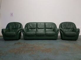DESIGNER GREEN LEATHER MODERN SET 3 SEATER SOFA / SUITE / SETTEE & 2 CHAIRS / ARMCHAIRS CAN DELIVER