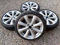 """17"""" TOORA ALLOY WHEELS & NEW TYRES *REFURBED* STAR SILVER 4x108 ford citroen pug"""