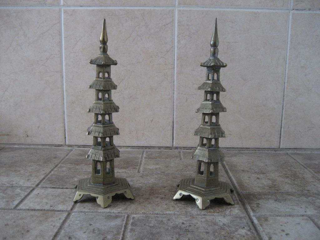 Pair of Metal Chinese Pagodas