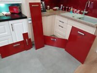 Red Acryllic High Gloss Kitchen Doors x 24 and Drawers x 7