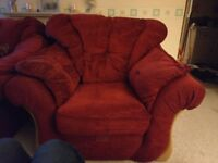 Two Seat Sofa and Armchair (red), good con, collection only.
