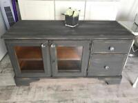 Grey shabby Chic Tv Stand with crystal handles