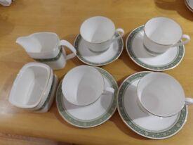 Royal Doulton Rondelay china-tea cups, saucers, sugar and milk