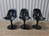 4X Black High Gloss Tulip Swivel Chairs - Design Classic Mid Century Retro