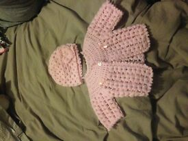 Hand Made Crochet Cardigan & Hat Top Qualify 0-3 Months