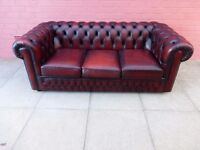 A Saxon Brown Leather Three Seater Chesterfield Sofa Settee
