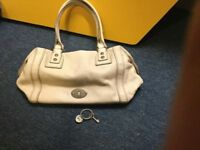 Cream fossil leather handbag