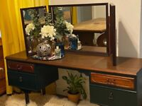 Mid-century Meredew Avalon Sideboard/Dressing Table w/ Detachable Three Panel Stag Mirror