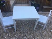 Childs table and chairs white