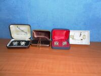 Vintage Cufflinks and Tie Clasps, Boxed