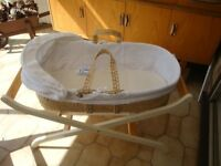 Moses Basket on Mothercare stand with Claire de Lune Trimmings and newborn bath