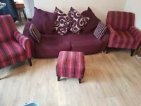 Sofa and chairs with footstool