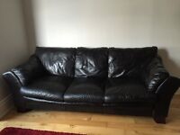 SOFT LEATHER - THREE SEATER SOFA - DARK BROWN