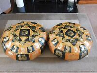 QUALITY PAIR LEATHER POUFFE'S