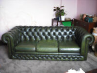 Leather Chesterfield Olive Green