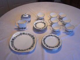 Royal Douton 70's Esprit tea set - jug; sugar basin; 1 large plate; 6 small plates, cups & saucers