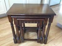 Nest of 3 Oak wooden tables in clean VGC