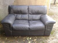 NEXT 2 seat Black leather sofa - DELIVERY AVAILABLE