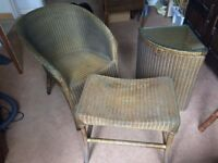 Vintage Lloyd Loom Chair, linen basket and stool